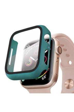 Apple Microsonic Watch Series 5 44mm Kılıf Matte Premium Slim Watchband Koyu Yeşil