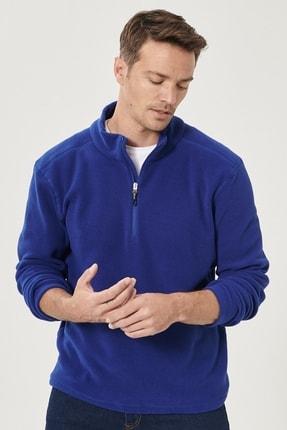 AC&Co / Altınyıldız Classics Erkek Saks Mavi Standart Fit Günlük Rahat Fermuarlı Bato Yaka Spor Polar Sweatshirt