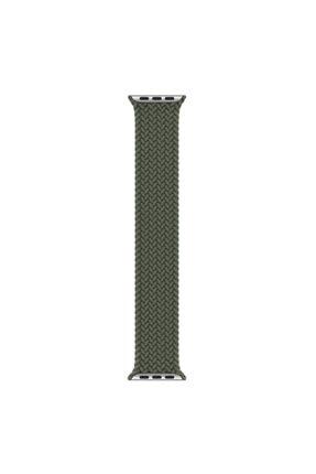 Apple Microsonic Watch Se 40mm Kordon, (medium Size, 147mm) Braided Solo Loop Band Koyu Yeşil