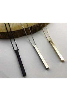 MedBlack Jewelry Unisex 3'lü Bar Çubuk Siyah Gümüş Altın Kolye Seti