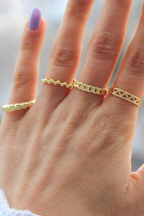 Niki Aksesuar Gold Renk Kombin Eklem Yüzüğü 4 Adet