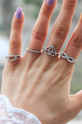 Niki Aksesuar Gümüş Renk Kombin Eklem Yüzüğü 4 Adet