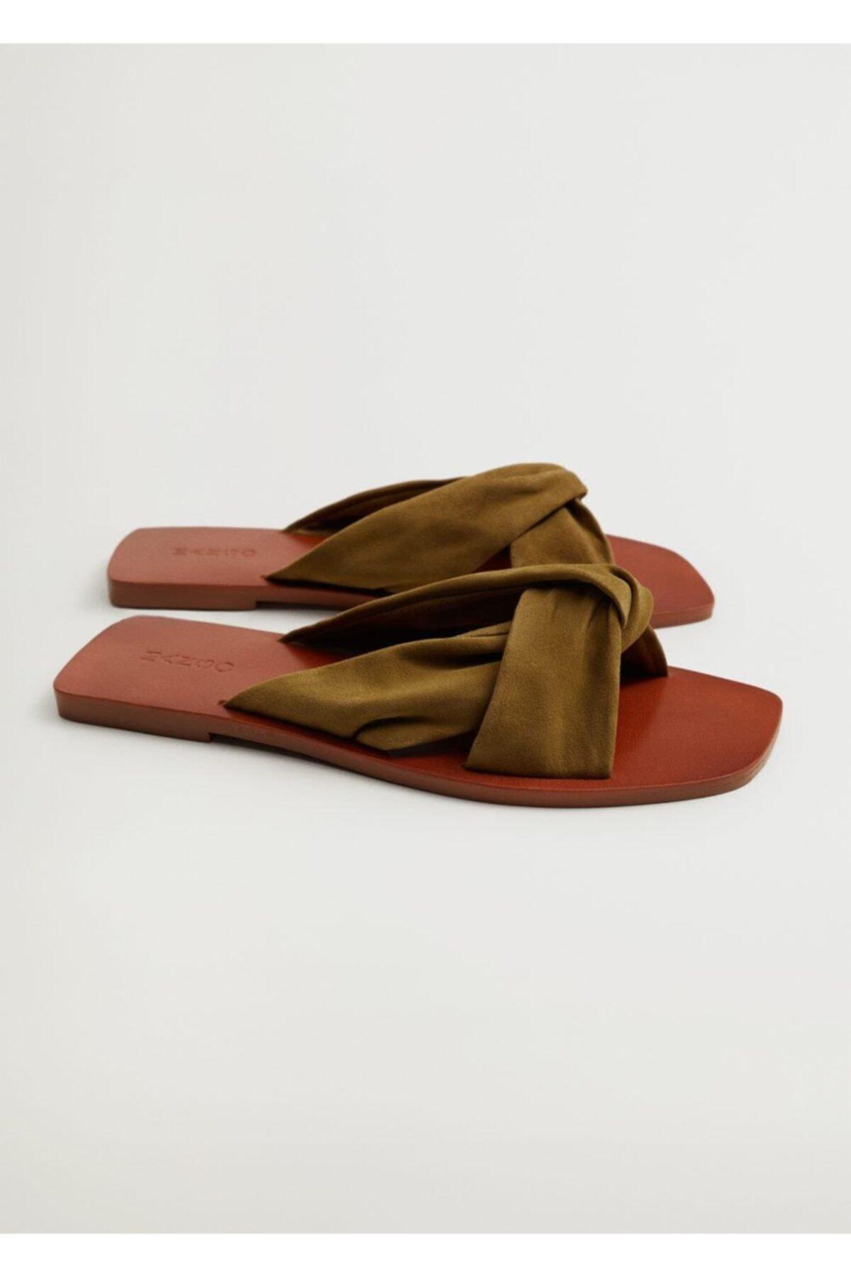 MANGO Woman Kadın Haki Deri Bantlı Sandalet 1