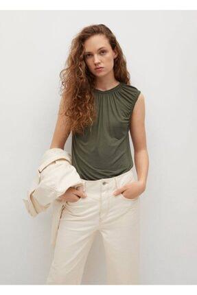 MANGO Woman Kadın Haki Pili Detaylı Tişört