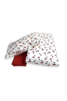 Bebek Özel Kız Bebek Kiraz Kırmızı Pamuk Nevresim Takımı 100x150