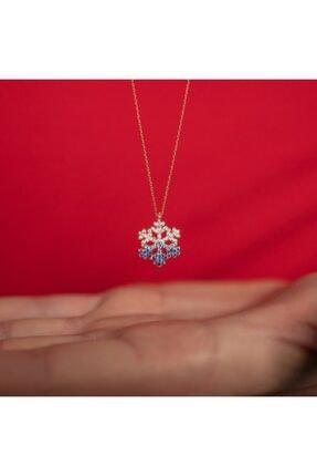 ernsilver Gold Rose Renk, Renk Geçişli Kar Tanesi, Özel Ahşap Kutulu, 925 Ayar, Gümüş Kolye, Kar Tanesi Kolye