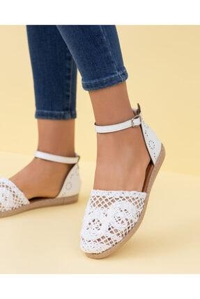 ESPARDİLE Beyaz Ecer Beyaz Örgülü Sandalet
