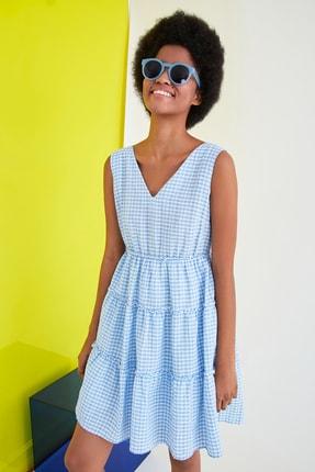 TRENDYOLMİLLA Mavi Kareli Elbise TWOSS21EL2743