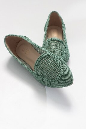 LuviShoes Kadın Yeşil Örme Babet Ayakkabı 101