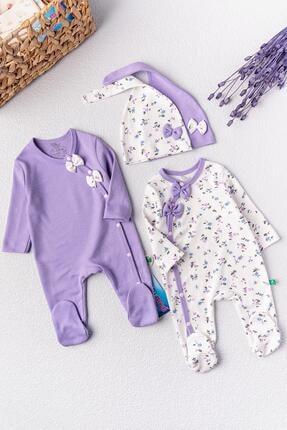 Babymod Kız Bebek Tulum Çiçek Desenli Ikili Uzun Kollu Tulum Takım