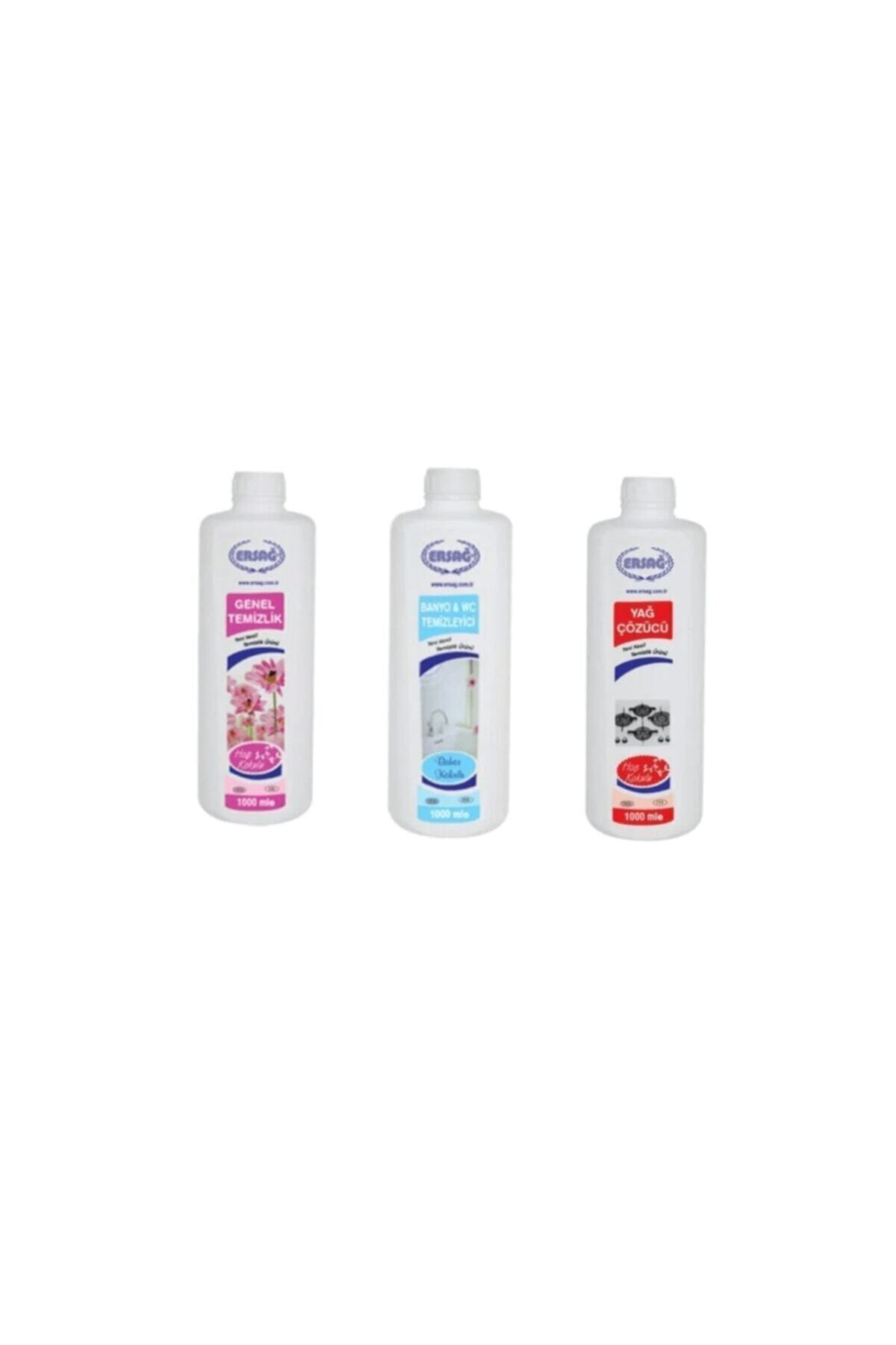 Ersağ Genel Temizlik + Bahar Kokulu Banyo Wc + Yag Çöz 3 Adet * 1000 ml 1