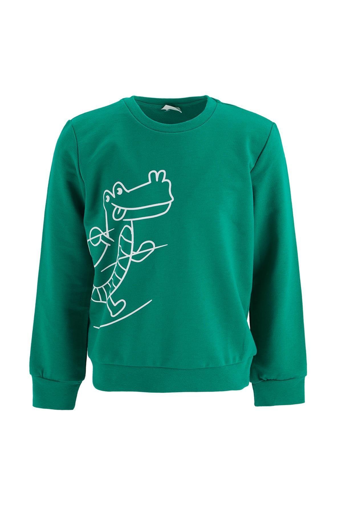 DeFacto Erkek Çocuk Yeşil Timsah Baskılı Sweatshirt