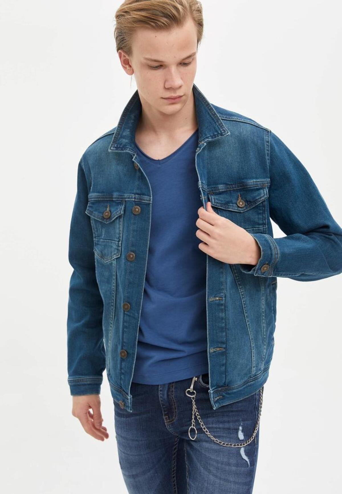 DeFacto Erkek Yeşil Basic Slim Fit Mevsimlik İnce Jean Ceket M4845AZ20SPNM