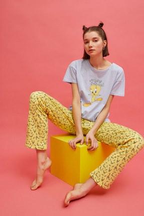 Koton Kadın Tweety Baskılı Sarı Pijama Takımı 1YLK79341MK