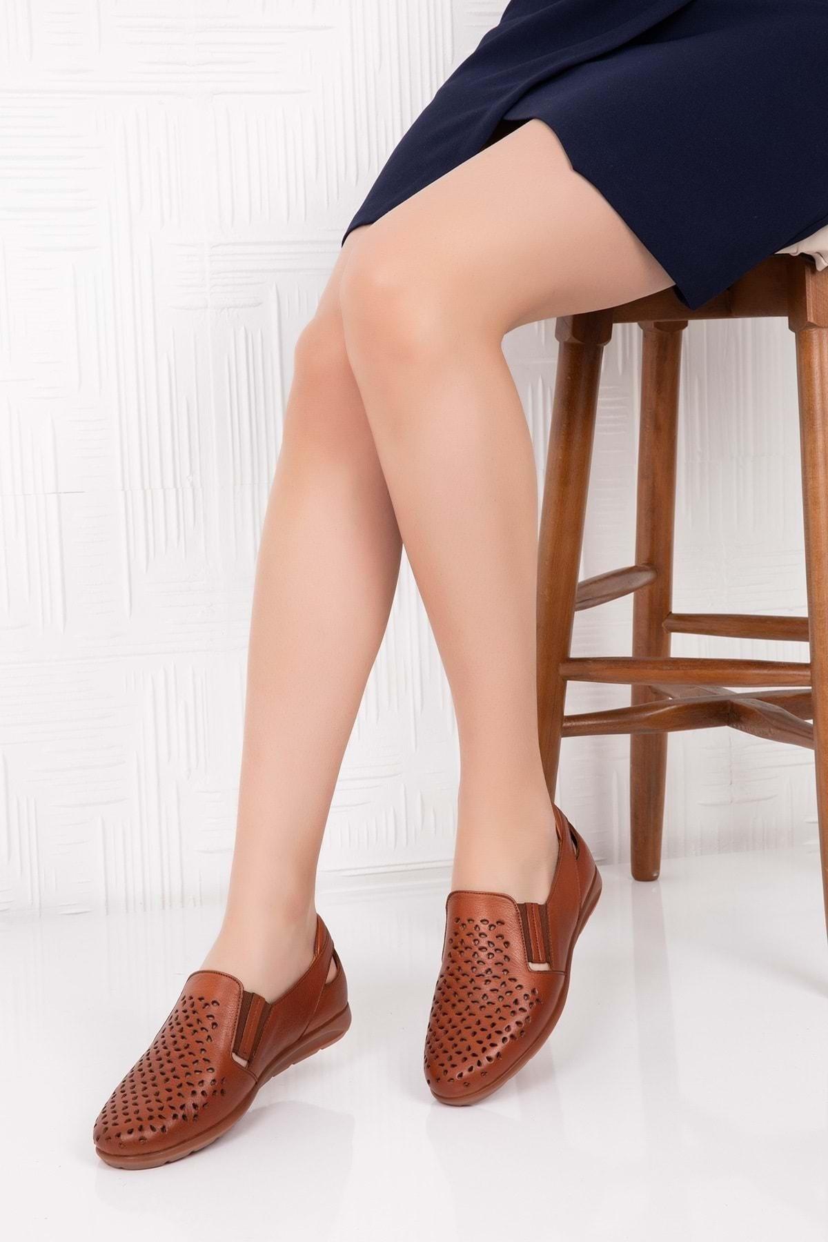 Gondol Hakiki Deri Ortopedik Taban Günlük Ayakkabı Taba 40 Esfa.152y 1