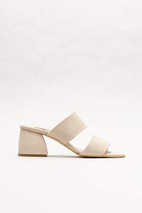 Elle Shoes Kadın Bej Topuklu Terlik