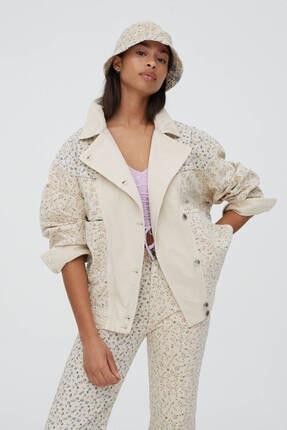 Pull & Bear Kadın Çiçek Desenli Patchwork Ceket