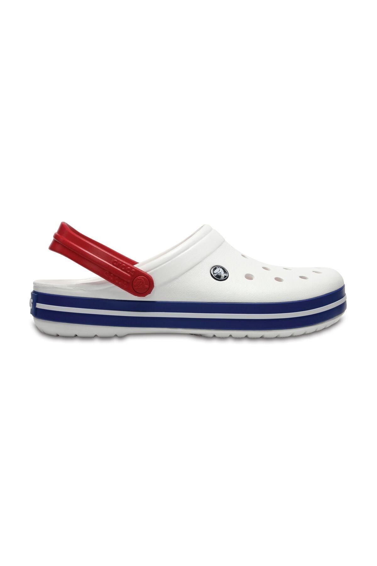 Crocs Beyaz Unisex Crocband Kenarı Lacivert Beyaz Çizgili Terlik 1