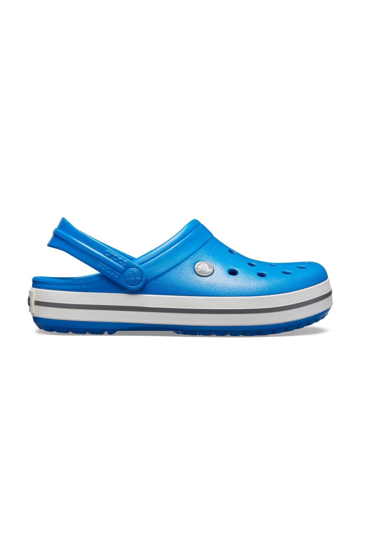 Crocs Mavi Unisex Crocband Kenarı Beyaz Siyah Çizgili Terlik 1