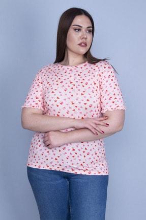Şans Kadın Somon Kalp Desenli Kolu Fırfırlı Bluz 65N23944