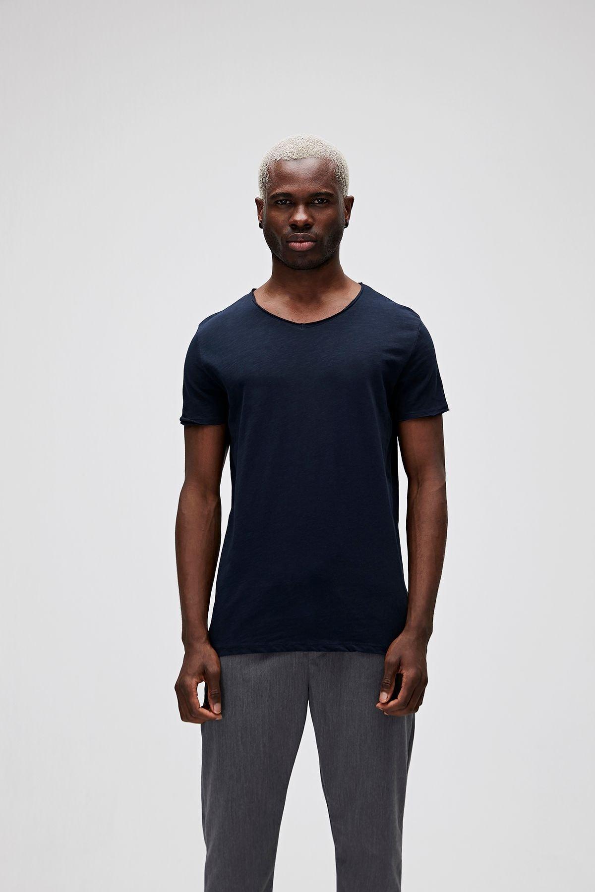 Bad Bear Erkek Lacivert V-neck Tee Navy T-Shirt 1