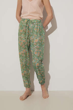 Oysho Pamuklu Yeşil Çiçekli Pantolon