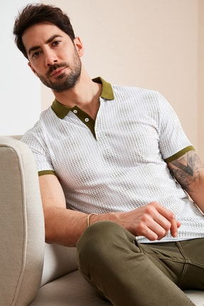 Buratti Erkek Beyaz Pamuklu Desenli Polo Yaka T Shirt 5968003