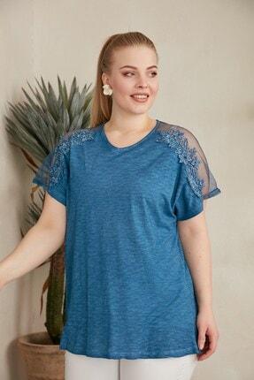 RMG Kadın İndigo Kol Tül ve Dantel Detaylı Büyük Beden T-Shirt