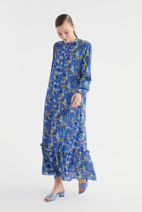Trendyol Modest Lacivert Fırfırlı Desenli Krep Elbise TCTSS21EL3353