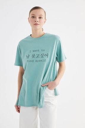 Trendyol Modest Mint Baskılı Örme T-Shirt-Tunik TCTSS21TN0270