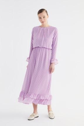 Trendyol Modest Lila Volanlı Astarlı Elbise TCTSS21EL3566