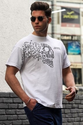 Madmext Beyaz Erkek Tişört 5251