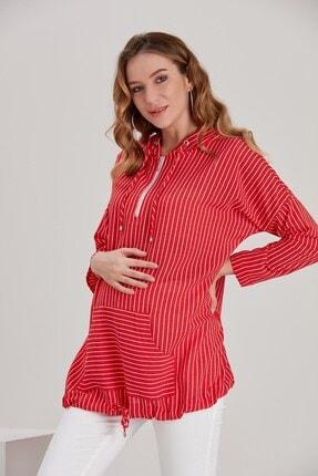 Görsin Hamile Kadın Kırmızı Kapşonlu Çizgili  Hamile Tunik