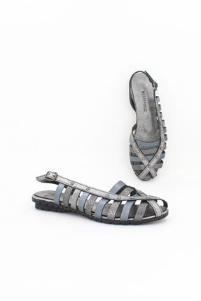 Deripabuc Hakiki Deri Çelik Karma Kadın Deri Sandalet Dp11-6203