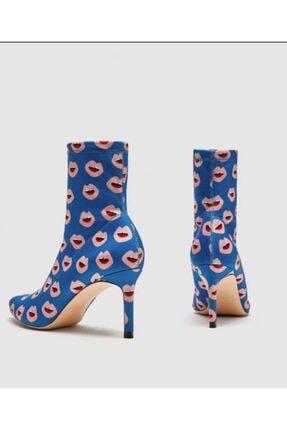 nrrbutik Kadın Mavi nce Topuk Çorap Bot