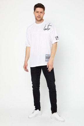 Duxxo Erkek Beyaz Oversize Spor T-shirt
