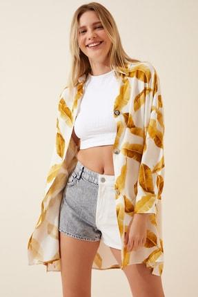 Happiness İst. Kadın Camel Tropik Desenli Oversize Uzun Gömlek  FN02710