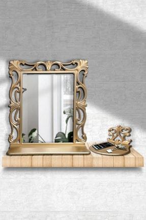 Hediyeler Kapında Dekoratif Çerçeveli Ayna ve İşlemeli Stand Seti 55x67 Cm