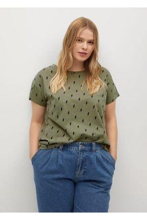 Violeta by MANGO Kadın Haki Organik Pamuklu Desenli Tişört