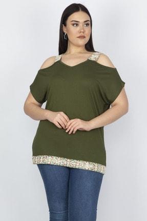 Şans Kadın Haki Omuz Dekolteli Askı Ve Etek Ucu Payet Dantel Detaylı Bluz
