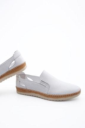 Marjin Kadın Hakiki Deri Comfort Ayakkabı Burvebeyaz