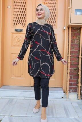 Neva Style Kadın Desenli Siyah Tesettür Tunik 358114s