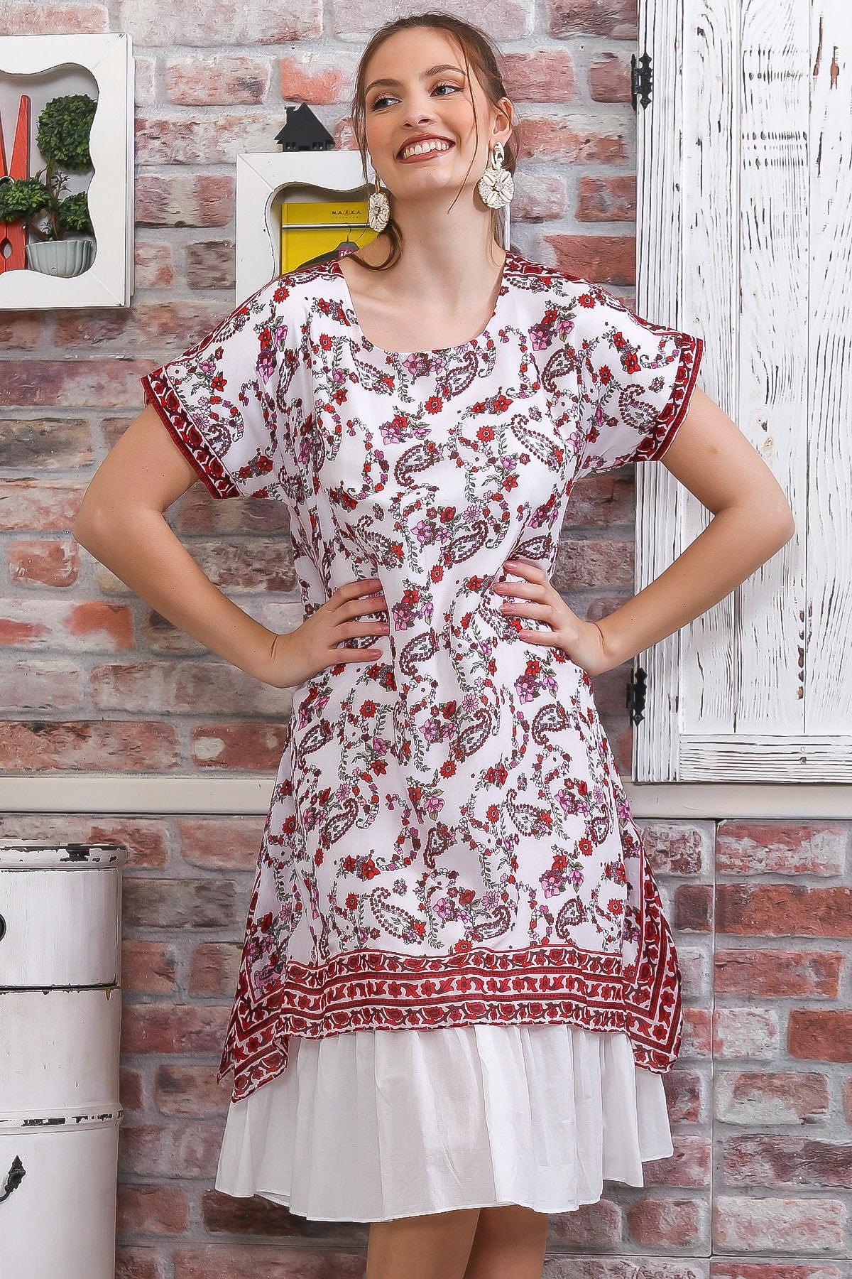 Chiccy Kadın Beyaz-Kırmızı Düşük Kol Şal Desenli İki Katlı Salaş Tülbent Elbise M10160000EL95079