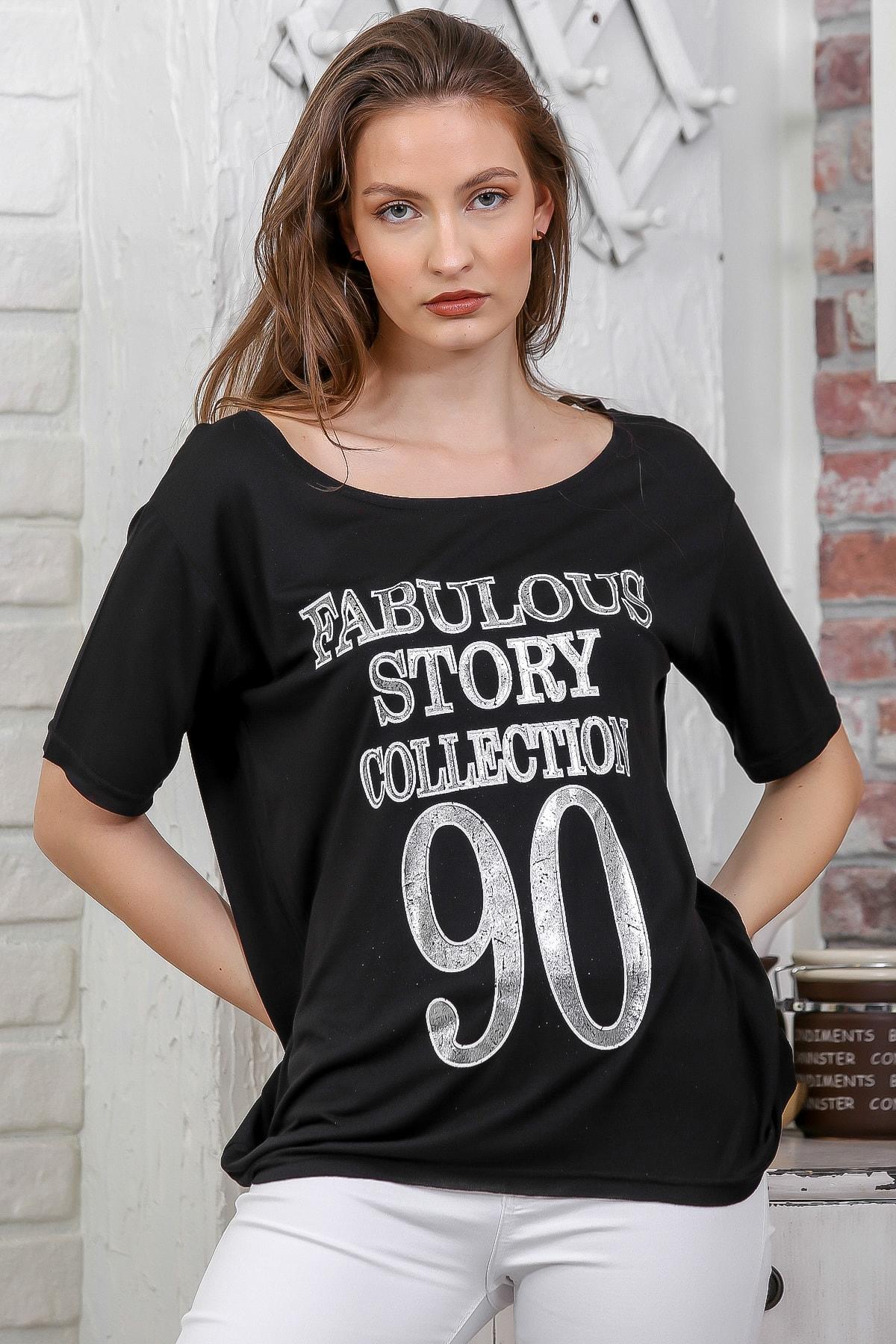 Chiccy Kadın Siyah Kayık Yaka Baskılı Sırtı Çapraz Biye Detaylı T-Shirt M10010300TS98265