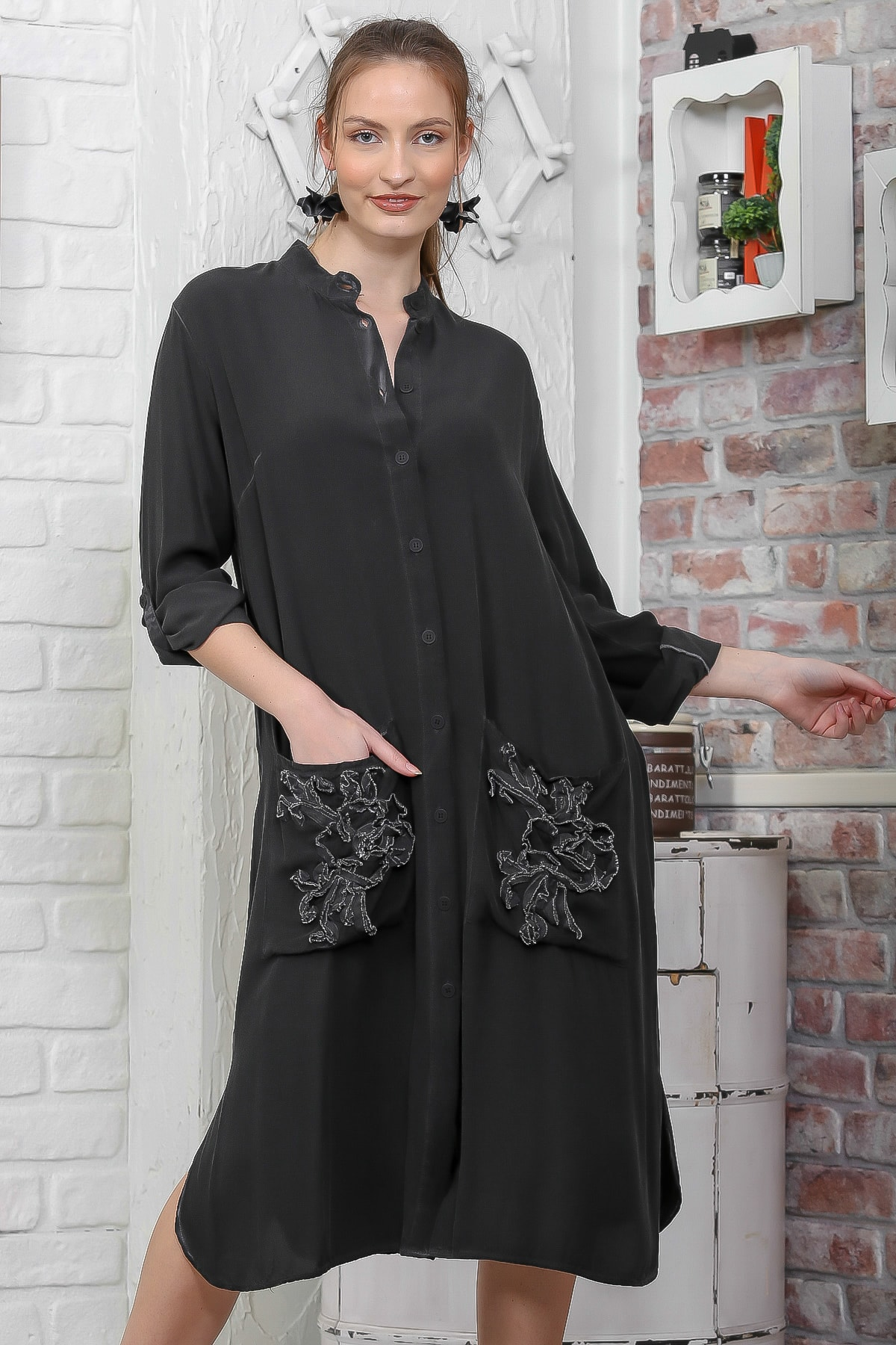 Chiccy Kadın Siyah Düğmeli Cepli Yıkamalı Midi Elbise M10160000EL95104