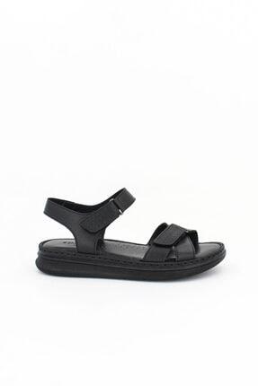 Deripabuc Hakiki Deri Siyah Kadın Deri Sandalet Dp59-0001