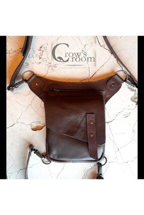 Crow'sRoom Handmade Bel Ve Bacak Çantası (kapaklı Model)