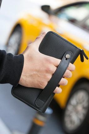 Garbalia Deri Siyah Telefon Bölmeli El Çantası Cüzdan Kartlık