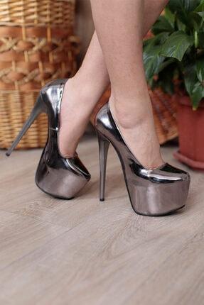PUNTO Kadın Platin Platform Yüksek Topuklu Ayakkabı