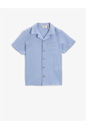 Koton Erkek Çocuk Mavi Kareli Gömlek